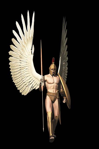 Archangel isolated on black stock photo