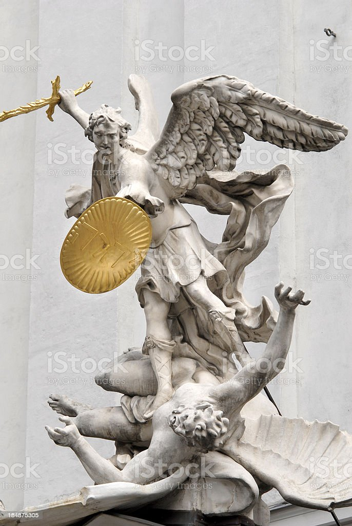 Archangel Michael Statue at St. Michael's Church stock photo