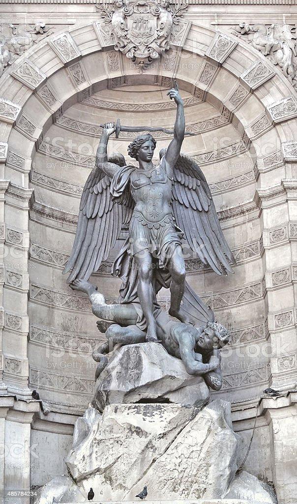 Archangel Michael statue Saint Michel Paris stock photo