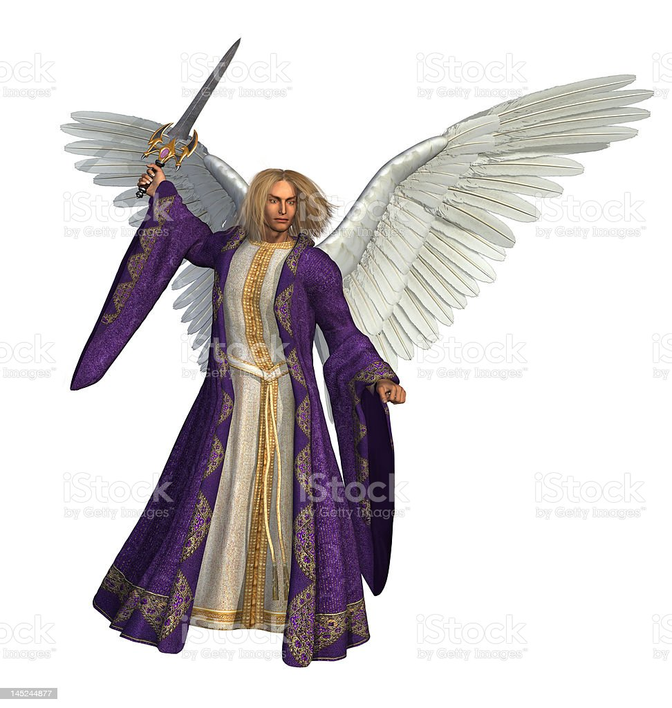 Archangel Micheal on white stock photo