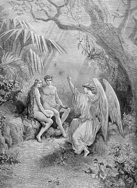Arcanjo Raphael com Adam and Eve - foto de acervo