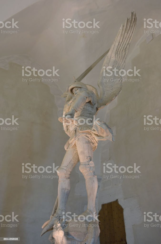 Archangel Saint Michael statue at Mont Saint-Michel - Brittany - France stock photo
