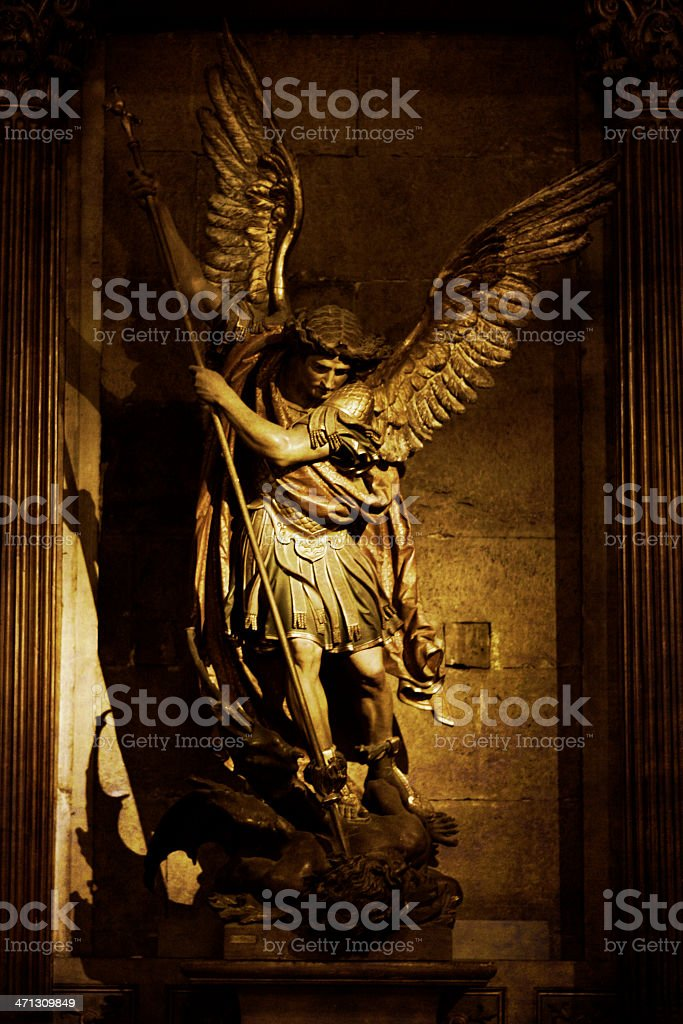 Archangel St. Michael Statue stock photo