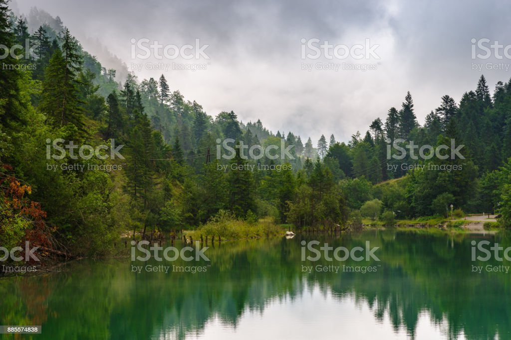 Archbach near Reutte on a cloudy and rainy day stock photo