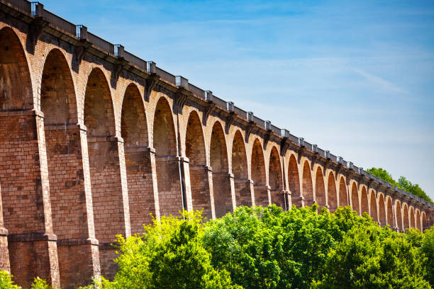 Arched abutments of Chaumont viaduct in France stock photo