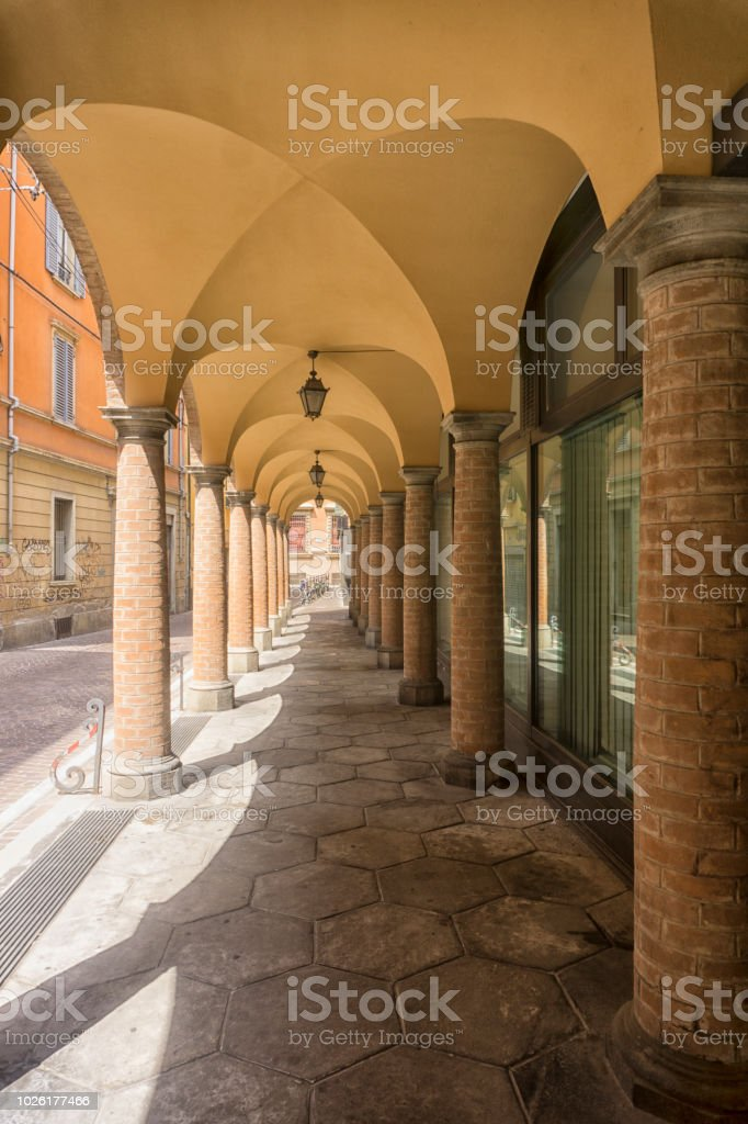 Arched Arcade or Portico with shops stock photo