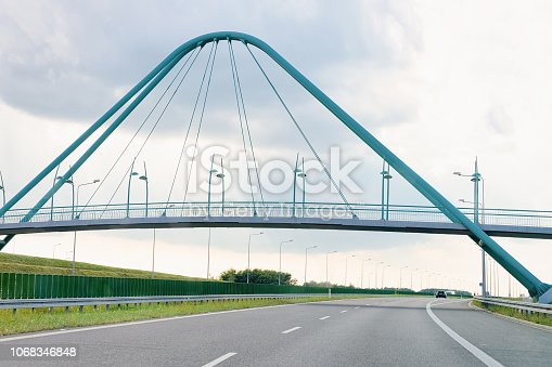 Arched Bridge on modern highway road in Czech republic, Europe