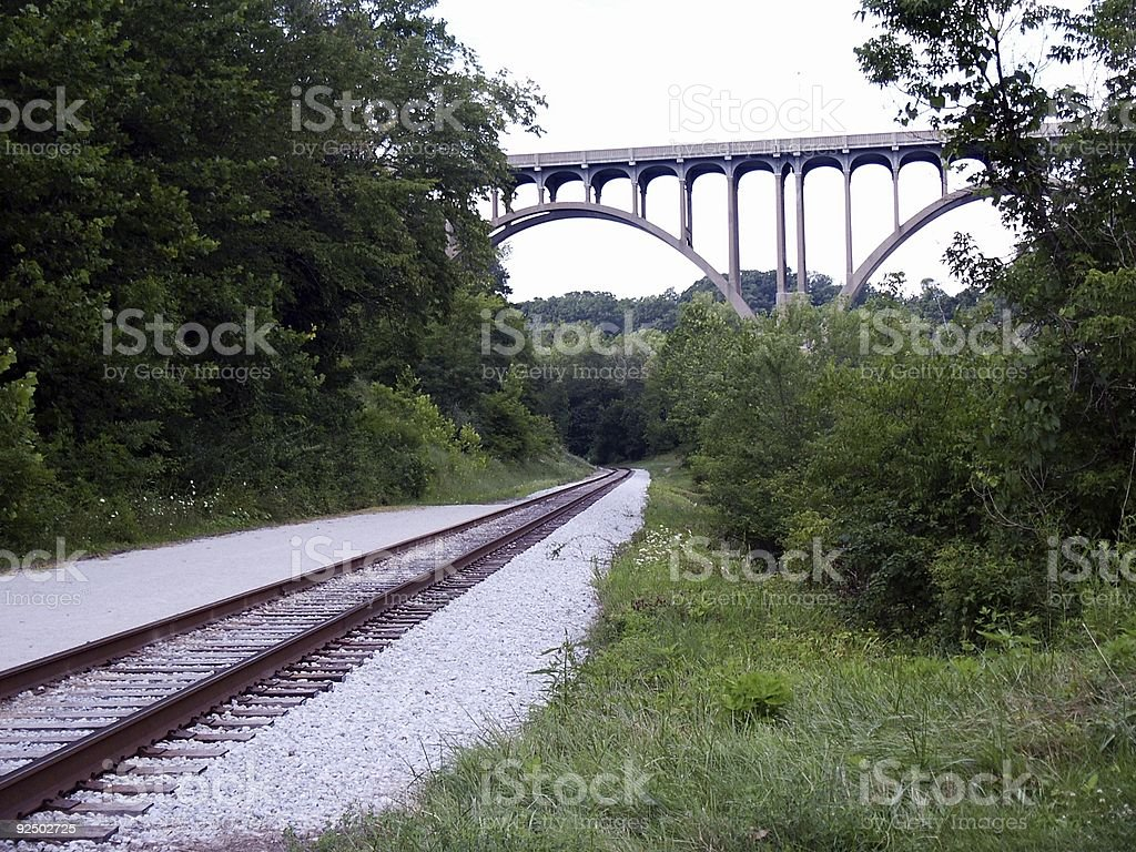 Arched bridge over RR track royalty-free stock photo