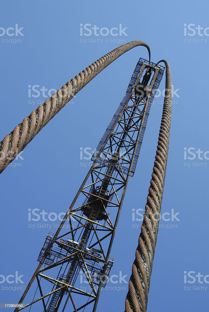 Arched Cables from a Very Tall Crane - Series stock photo