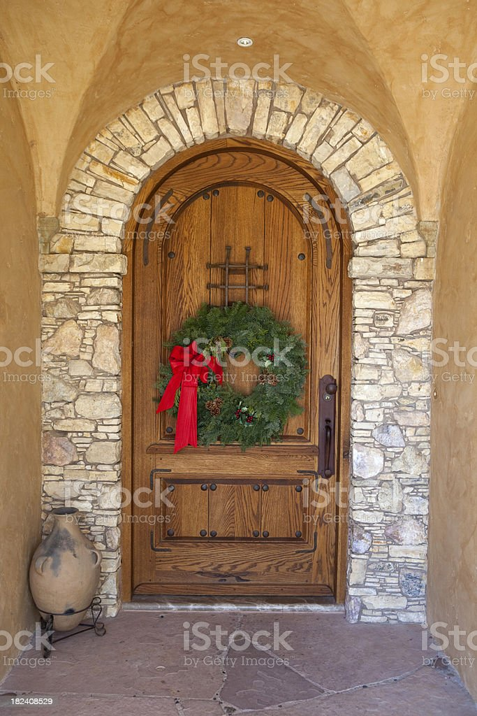 Arched Doorway with Wreath stock photo
