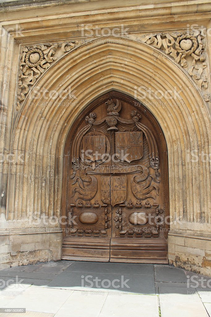 elaborate carved door and archway in Bath, England