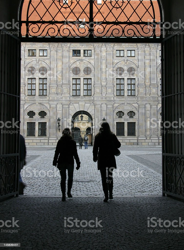 Arched entryway into Munich's Residenz stock photo