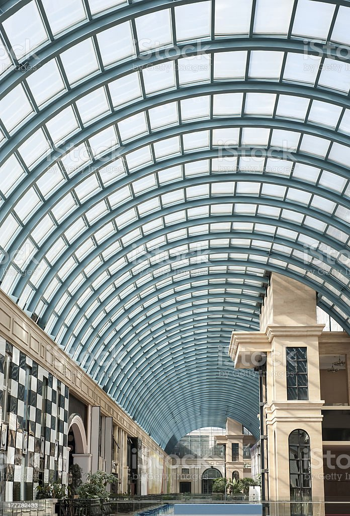 Arched glass roof mall restaurants royalty-free stock photo