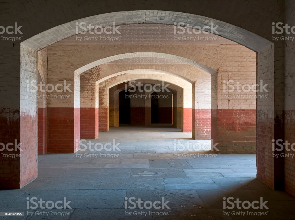 Arched Halls at Fort Point, San Francisco stock photo
