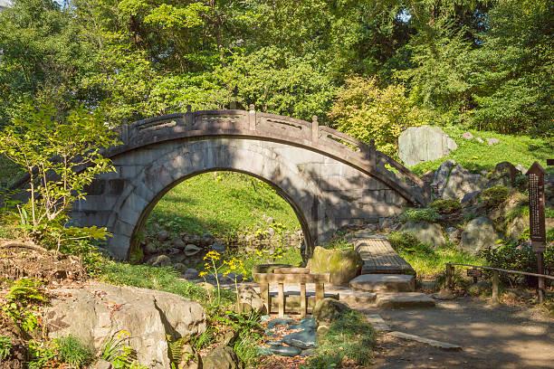 arched stone bridge in japanese garden koishikawa korakuen tokyo stock photo