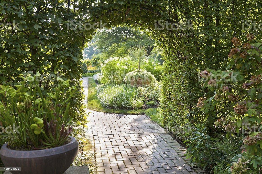 Arched Trellis in Lush Green Summer Garden stock photo