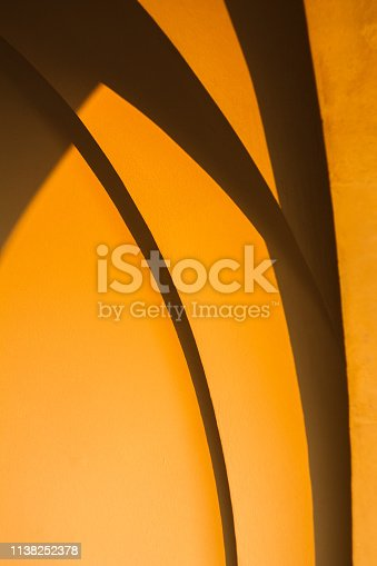 The Smooth Verified Lines and Proportions in Architecture. Abstract Background. Arched Vaults Building Exterior at Sunset