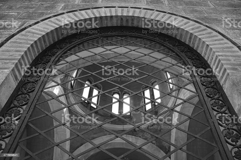 arched window ironwork pattern royalty-free stock photo