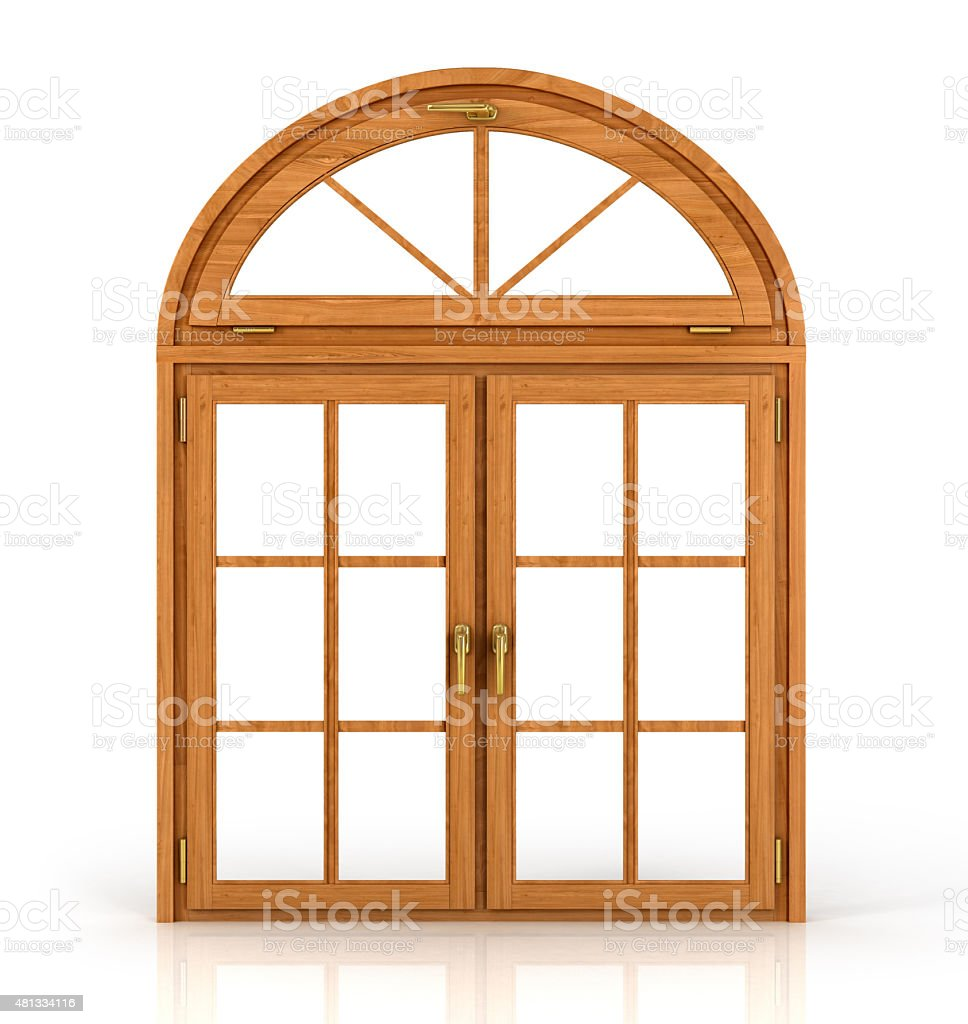 Arched wooden window stock photo
