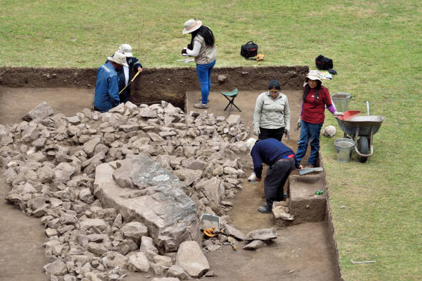 Archeological excavation in Machu Picchu site stock photo