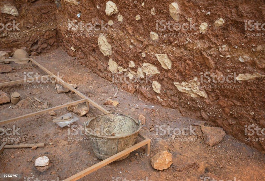 Archeological excavation stock photo