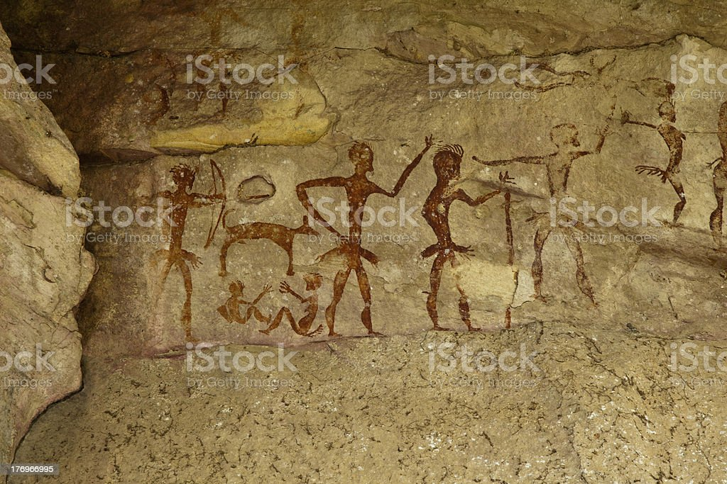 Archeological pre-historic human clift paint royalty-free stock photo