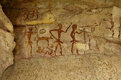 Archeological pre-historic human clift paint