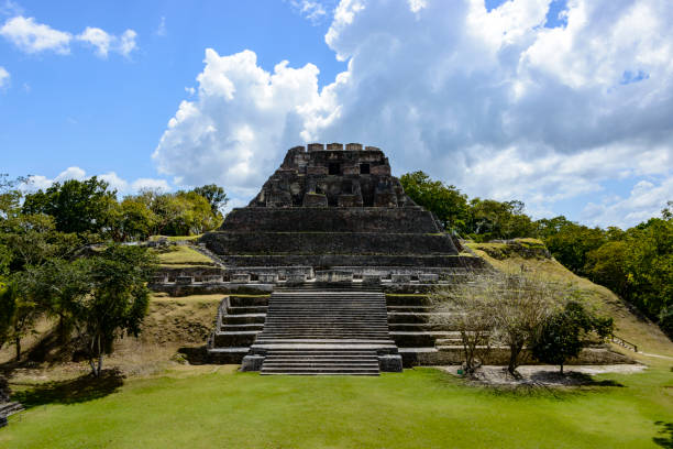 Archeological site of the Mayan ruins of Xunantunich stock photo