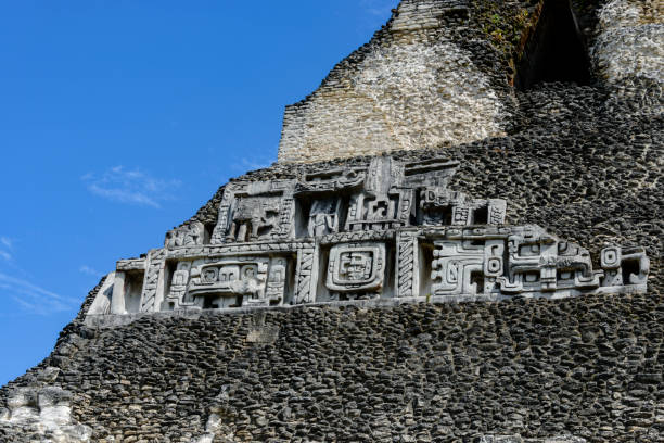 Archeological site of the Mayan ruins of Xunantunich stock photo