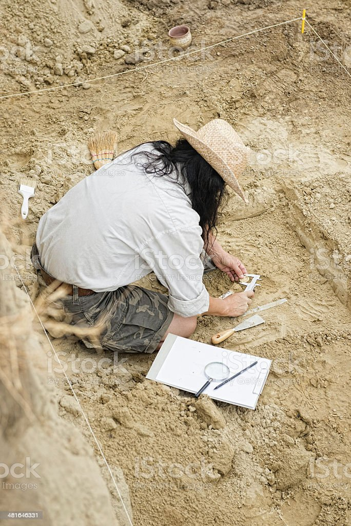 Archeologist on site stock photo