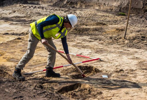 Archeology Excavation Driebergen Man Shovel stock photo
