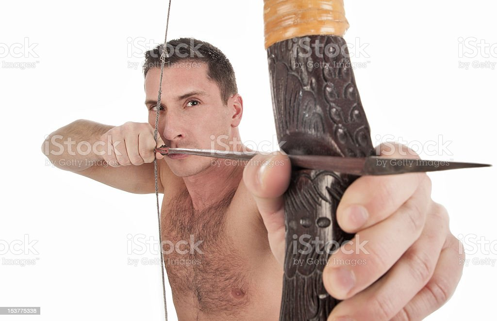 Archer Man with bow and arrow royalty-free stock photo