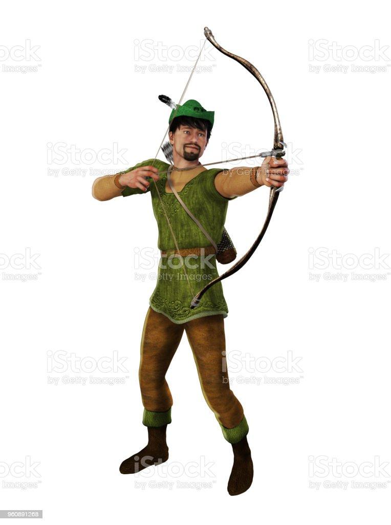 Archer Outlaw Robin Hood - Lizenzfrei Bogen - Pfeil und Bogen Stock-Foto