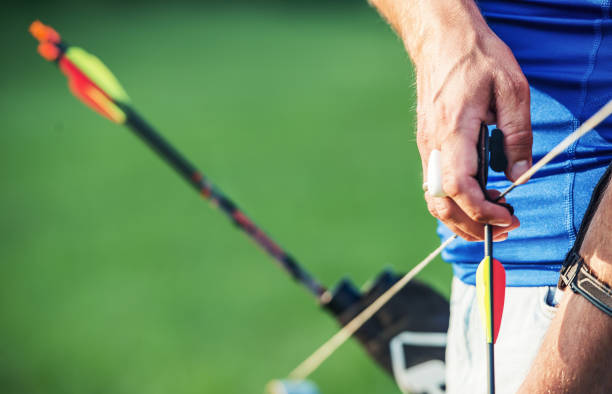 Archer. Sportsman practicing archery. Sport, recreation concept stock photo