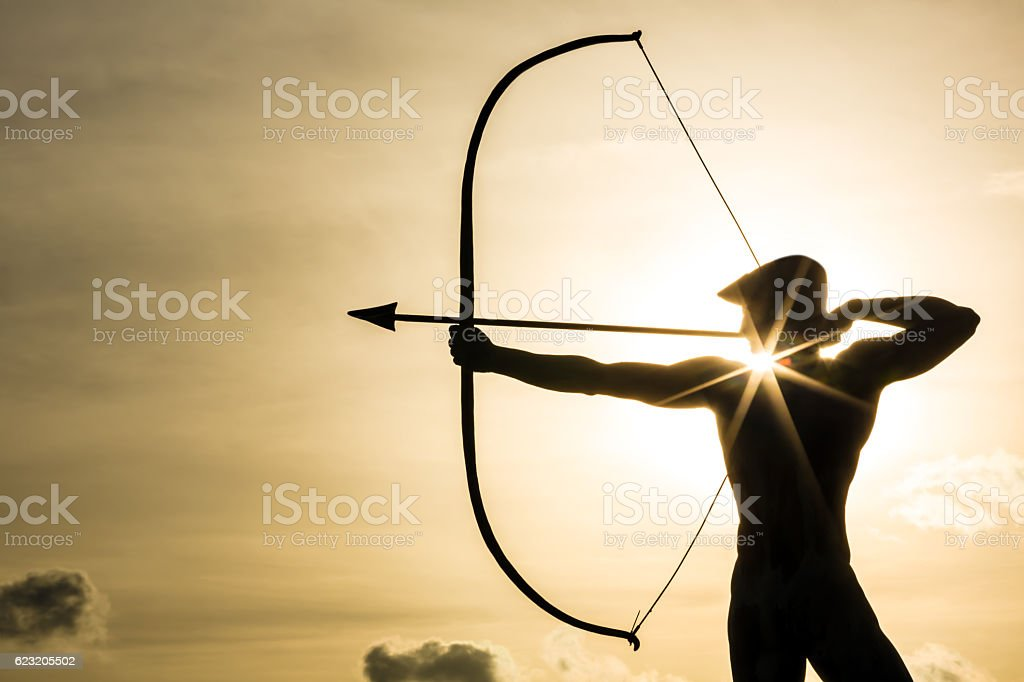 Archer with sunlight stock photo