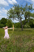 Young woman is aiming at the target with a bow in a beautiful meadow and a dramatic tree in the back.See some similar pictures from my portfolio: