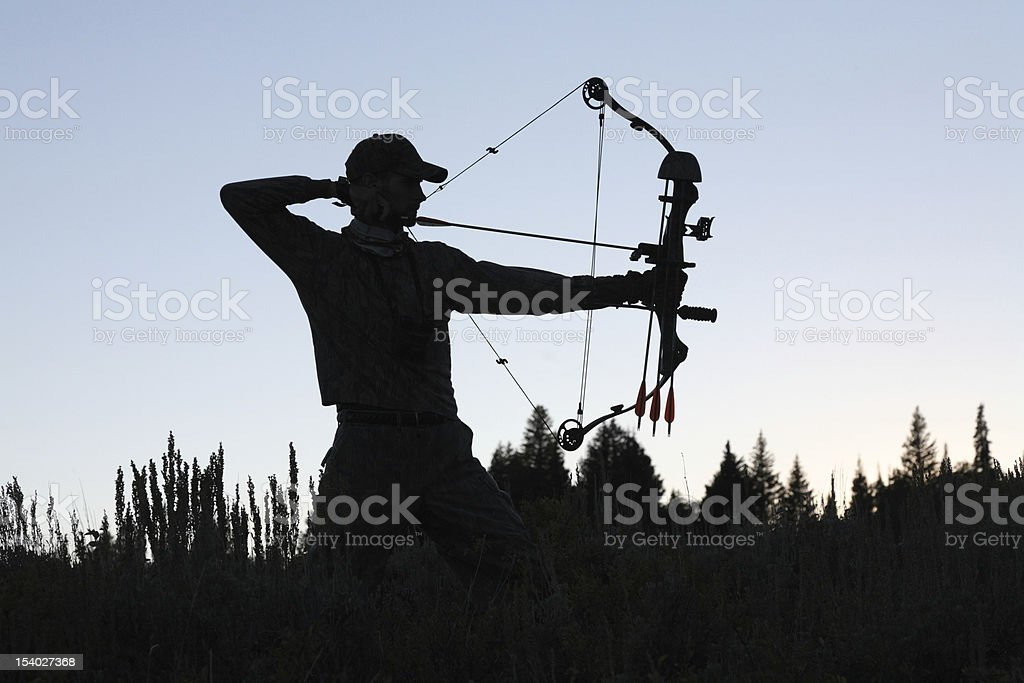 archery silhouette stock photo