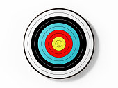 A colorful archery target isolated on white background. Horizontal composition with copy space. Clipping path is included.