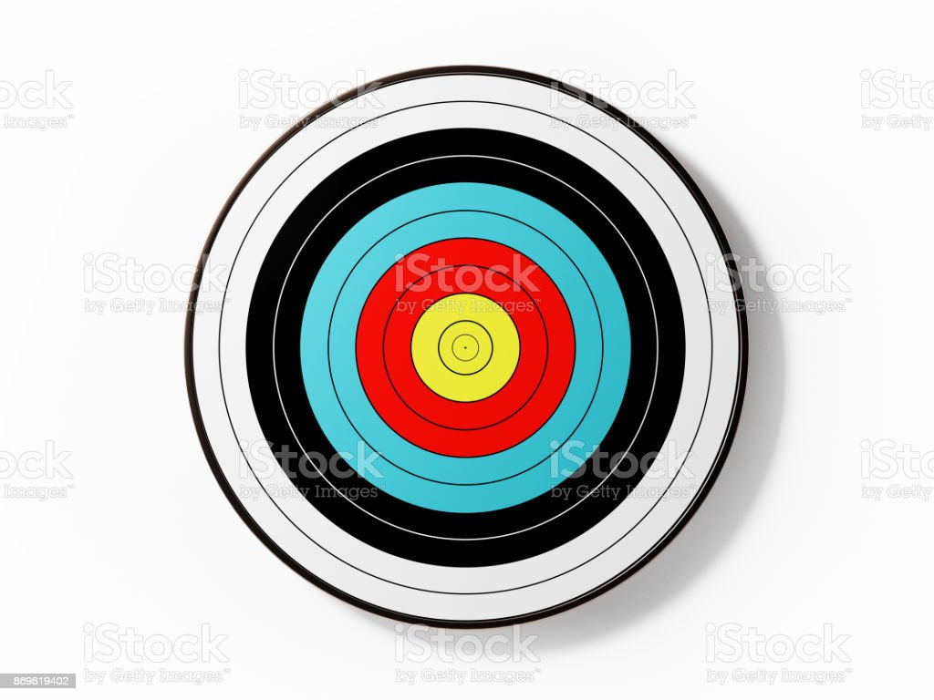 Archery Target Isolated On White Background stock photo