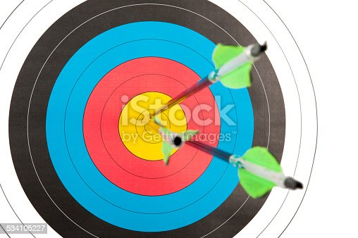 istock Archery target with three arrows 534105227