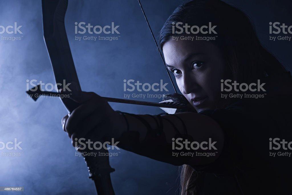 Archery woman stock photo