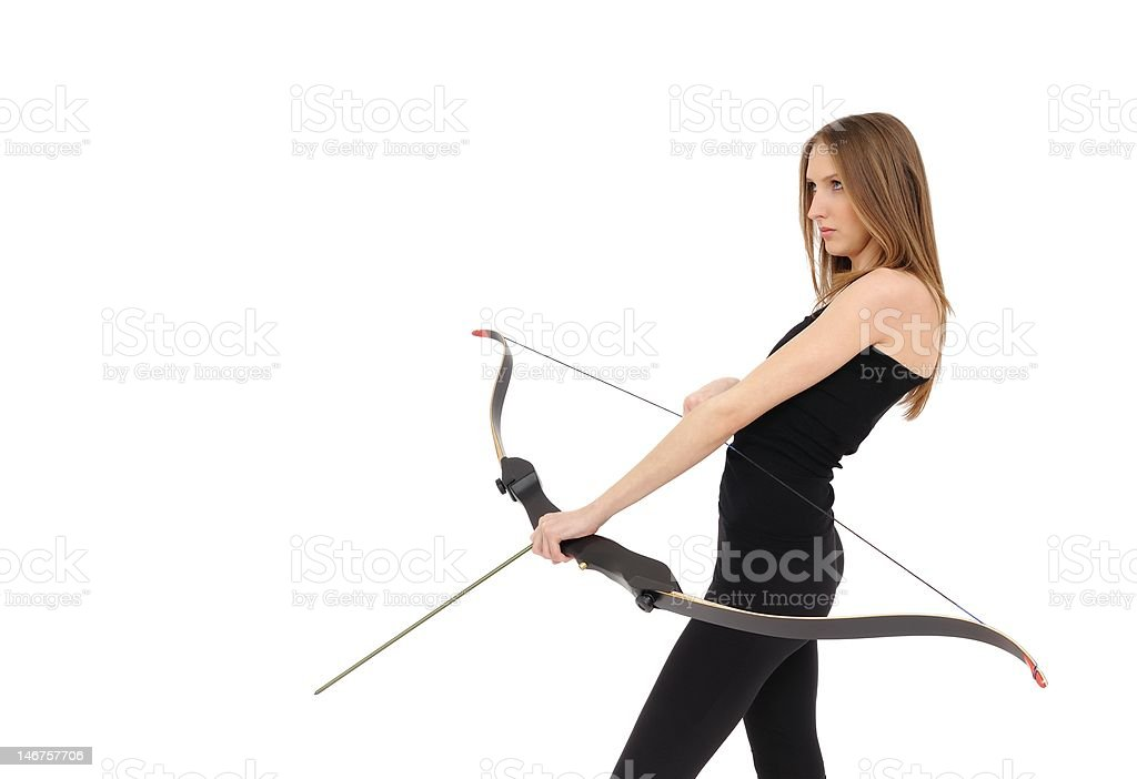 Archery - woman with bow stock photo