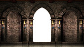 Medieval castle arches and gate isolated on white background.3d illustration.