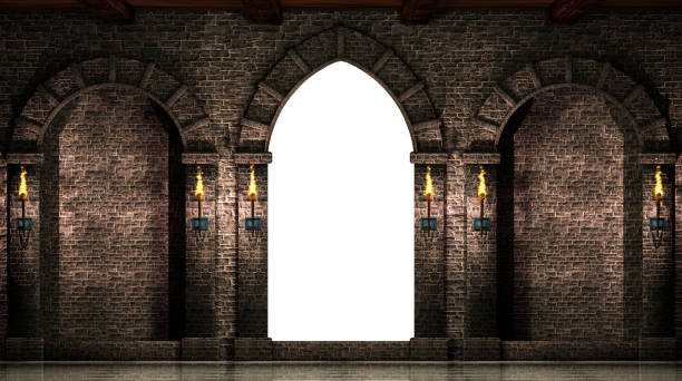 arches and gate isolated - castle stock photos and pictures