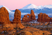 Natural landscape in Utah, USA. The Window in Arches National Park.