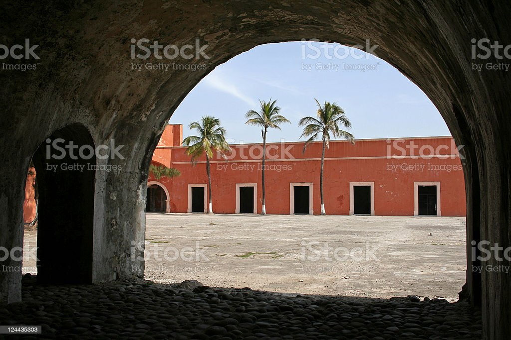 Arches and palm trees stock photo
