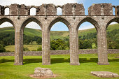 """""""The beautiful Welsh countryside viewed through the Gothic arches at Llanthony Priory, South Wales."""""""