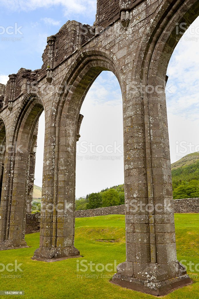 Arches at Llanthony Priory, Wales royalty-free stock photo