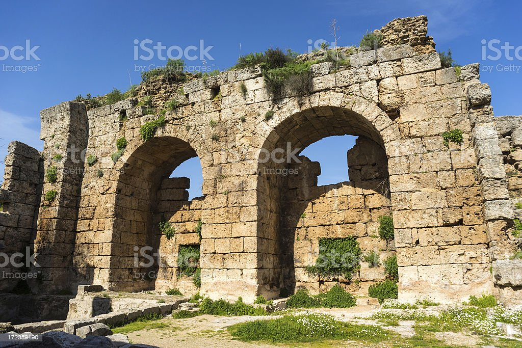 Arches at  Perge royalty-free stock photo