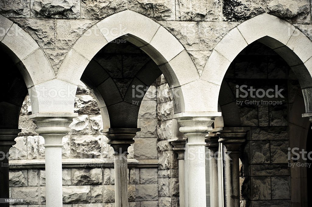 Arches at Saint Andrew's Cathedral in Honolulu, HI stock photo
